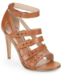 French Connection Leather Strappy Sandals - Lyst