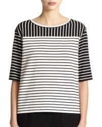 Lafayette 148 New York Jersey Mixed-Stripes Tee - Lyst