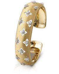 Buccellati Blossoms Daisy - Band Ring, Sterling Silver With Gold Accents And Brown Diamonds - Metallic