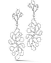 Miseno Sea Leaf - Drop Earrings With Diamonds, 18k White Gold