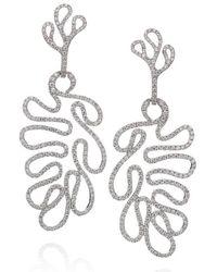 "Miseno ""sea Leaf"" Large Drop Earrings, Diamonds, 18k White Gold - Metallic"