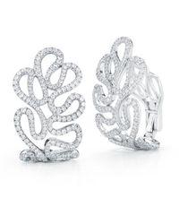 "Miseno ""sea Leaf"" Hoop Earrings, Diamonds, 18k White Gold - Metallic"