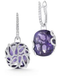 Miseno Sea Leaf - Drop Earrings With Diamonds, Amethyst, And 18k White Gold - Multicolor
