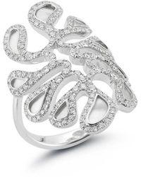 Miseno Sea Leaf - Ring With Diamonds, 18k White Gold, Mother Of Pearl - Metallic