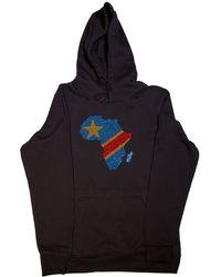 AFROKINGS Democratic Republic Of Congo Unisex Rhinestone Premium Hoodie - Black