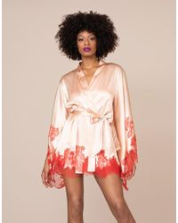 Agent Provocateur Christi Short Gown Nude And Red