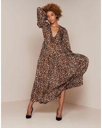 Agent Provocateur - Novak Long Dress Brown Leopard Print - Lyst
