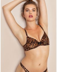 77fdab0023 Agent Provocateur - Bessie Leopard-print Stretch-silk Satin Underwired Bra  - Lyst