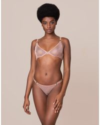 Agent Provocateur Adelia Thong Black gold in Black - Lyst 873deaa6f