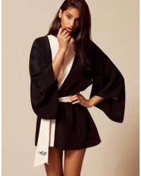 Agent Provocateur - Kiki Kimono Black/pink - Lyst