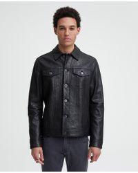 5e3e9a4d2 Reiss Kent Leather Bomber Jacket in Black for Men - Lyst