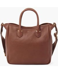 agnès b. Brown Grained Leather Tote Bag