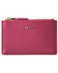 agnès b. Fuchsia Saffiano Leather Card Holder - Pink