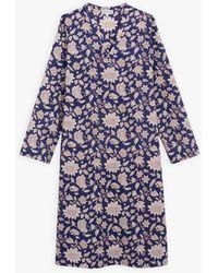 agnès b. Dark Blue Long Dress With Floral Print - White