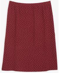 agnès b. Polka Dots Bordeaux Sharon Skirt - Red