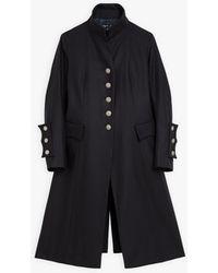 agnès b. Navy Blue Wool Felt Therence Coat