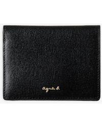 agnès b. Black Saffiano Leather Wallet
