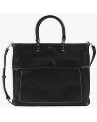 agnès b. Black Topstitched Leather Small Bag