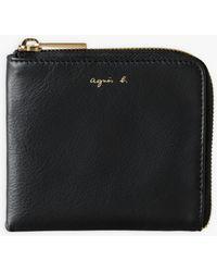 agnès b. Black Leather Zipped Coin Case