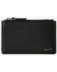 agnès b. - Black Grained Leather Card Holder - Lyst