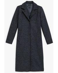 agnès b. Navy Blue Hounstooth Jacquard North Coat