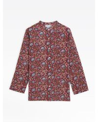 agnès b. Red Mili Tunic Blouse With Floral Print