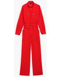 agnès b. Red Cotton Percale Jumpsuit