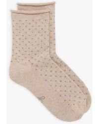 agnès b. Beige Polka Dot Socks - Gray