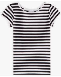 agnès b. White/black Australie Stripes Short Sleeves T-shirt
