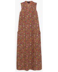 agnès b. Orange And Green Long Dress With Floral Print - Brown
