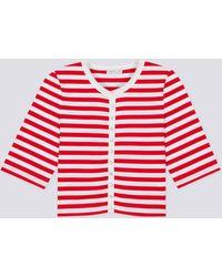 agnès b. - Red Striped Pierrot Snap Cardigan - Lyst