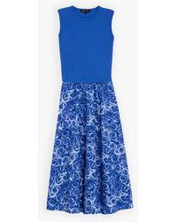 agnès b. Blue Sola Dress With Roses Print