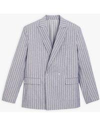 agnès b. Blue And Off White Striped Cotton Jacket