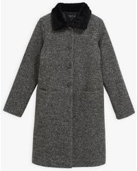 agnès b. Grey Darcia Coat With Faux Fur Collar