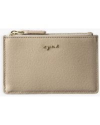 agnès b. Beige Saffiano Leather Card Holder - White