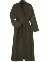 agnès b. - Green Wool Bathrobe Coat - Lyst