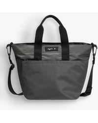 agnès b. Grey Small Nylon Shopping Bag