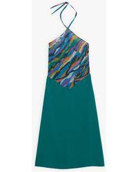 agnès b. Green Backless Scarf Dress - Blue