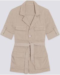 agnès b. - Beige Cotton And Linen Menaka Safari Jacket - Lyst