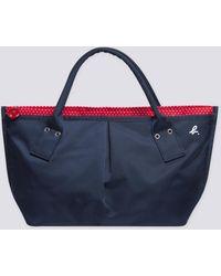 agnès b. - Blue Small Nylon Bag With Polka Dots Lining - Lyst