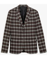 agnès b. Dark Brown Domino Jacket With Prince Of Wales Chequered Pattern
