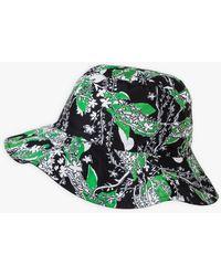 agnès b. Black And Green Reversible Monia Hat With Zina De Plagny Print