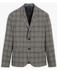 agnès b. Black Neyl Jacket With Prince Of Wales Check Pattern