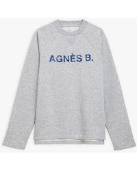 "agnès b. Light Grey Oxnard Sweatshirt With ""agnès B."" Embroidery"