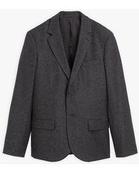 agnès b. Anthracite Wool And Silk Tweed Domino Jacket - Black