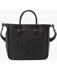 agnès b. Black Grained Leather Tote Bag