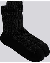 agnès b. - Black Eve Socks In Sparkly Ribbed Knit - Lyst