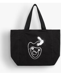 agnès b. Black Hiraku Suzuki Artist Shopping Bag
