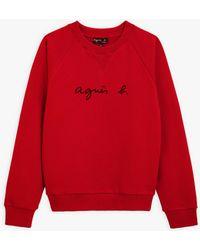 "agnès b. Dark Red ""agnès B."" Senga Sweatshirt"