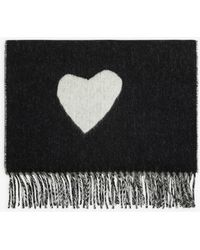 agnès b. Black And Off White Heart And Stripe Scarf
